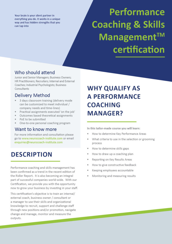 Performance Coaching Skills Management Offered To Clients